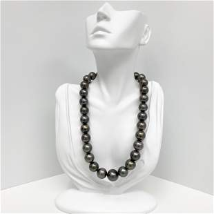 14-17mm Tahitian Dark Near-Round Pearl Necklace with