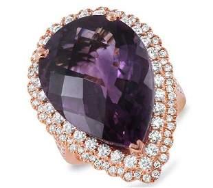20.81ct Amethyst 14 K Rose Gold Ring