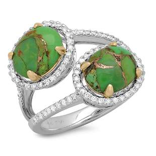 3.14ct Copper Turquoise 14 K White Gold Ring