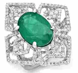 5.71ct Emerald 14 K White Gold Ring