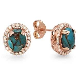 2.03ct Copper Turquoise 14 K Rose Gold Earrings