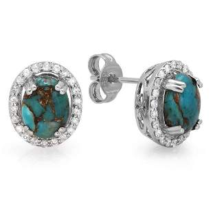 1.89ct Copper Turquoise 14 K White Gold Earrings
