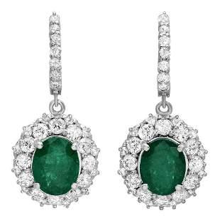 5.14ct Emerald 14 K White Gold Earrings