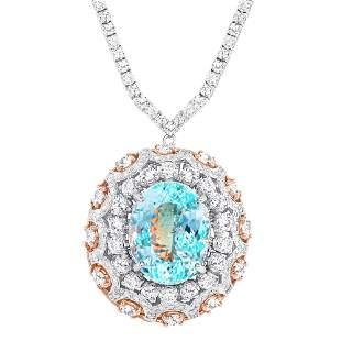16.82ct Aquamarine & diamond Necklace/pendant