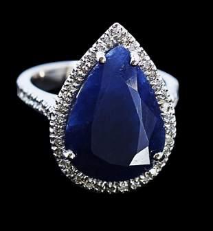 9.18ct NATURAL CEYLON Sapphire 14K White Gold Ring