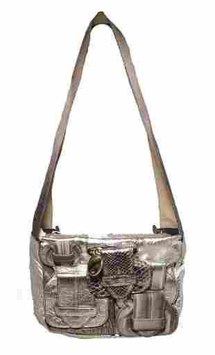 Chloe Silver Leather Satin Snakeskin Buckle Shoulder