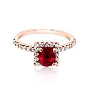 0.99ct NATURAL Ruby 14K Rose Gold Ring