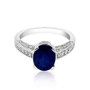 2.37CT NATURAL CEYLON BLUE SAPPHIRE 14K WHITE GOLD RING