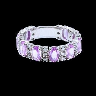 1.48ct NATURAL CEYLON Pink Sapphire 14K White Gold Ring