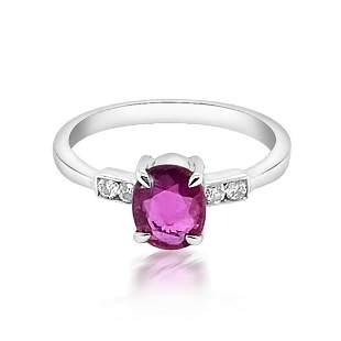 1.26ct Natural Ceylon Pink Sapphire 14K White Gold Ring