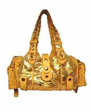 Chloe Rose Gold Snakeskin Handbag
