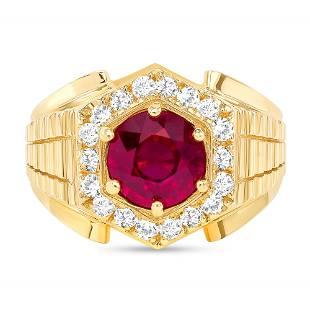 2.35ct Ruby & Diamond Men's Ring