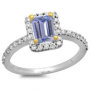 0.67ct Tanzanite 14 K White Gold Ring