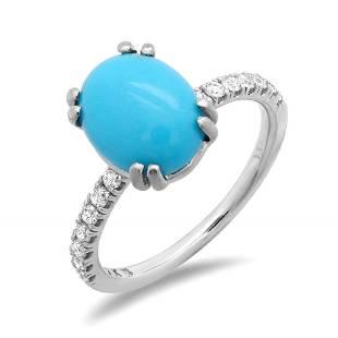 2.21ct Turquoise 14 K White Gold Ring