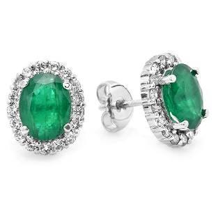 3.1ct Emerald 14 K White Gold Earrings