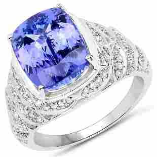 5.93ct Tanzanite 14K White Gold Ring