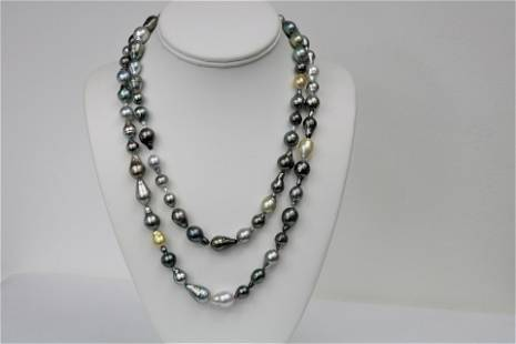 7-11mm Tahitian Multi Color Long Drop Necklace with