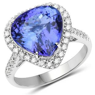 5.81ct Tanzanite 14K White Gold Ring
