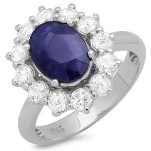 3.62ct Blue Sapphire 14 K White Gold Ring