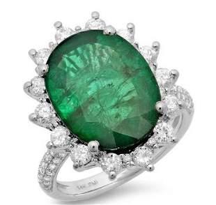 8.35ct Emerald 14 K White Gold Ring