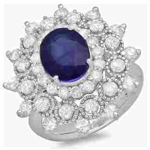 3.31ct Blue Sapphire 14 K White Gold Ring