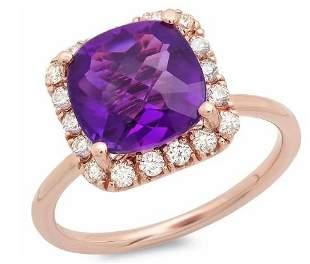 3.04ct Amethyst 14 K Rose Gold Ring