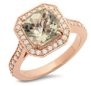 2.39ct Green Amethyst 14 K Rose Gold Ring