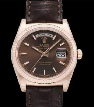 Rolex Day Date 36 RG on Strap Model #118135