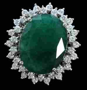 19.48ct NATURAL Emerald 14K White Gold Ring