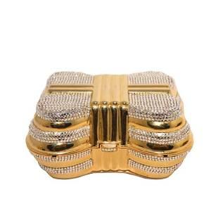 Judith Leiber Gold & Clear Swarovski Crystal Casket