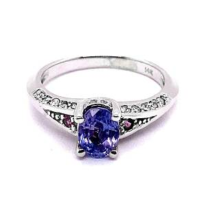 1.27ct Natural Ceylon Blue Sapphire 14K White Gold Ring
