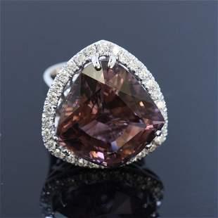 23.46ct Bi-Color Tourmaline 14K White Gold Ring