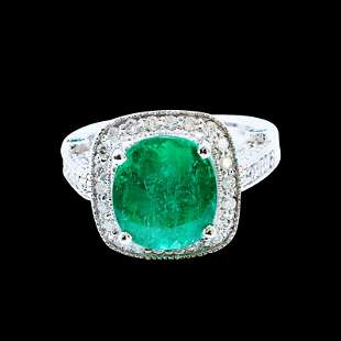 4.48ct NATURAL Emerald 14K White Gold Ring