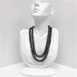 8-10mm Tahitian Peacock Near-Round Double-Strand Pearl