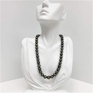 8-10mm Tahitian Dark Multicolor Round Pearl Necklace