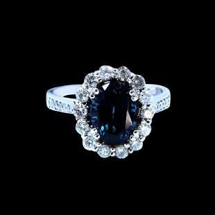 3.08CT NATURAL BURMA BLUE SPINEL 14K White GOLD RING