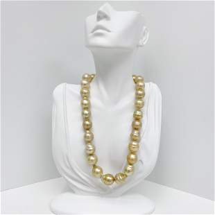 14-16mm South Sea Golden Circled Baroque Pearl Necklace