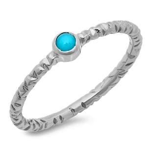0.12ct Turquoise 14 K White Gold Ring