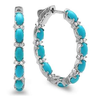 3.52ct Turquoise 14 K White Gold Earrings