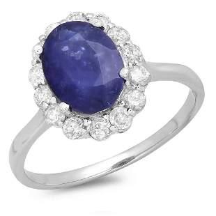 2.82ct Blue Sapphire 14 K White Gold Ring