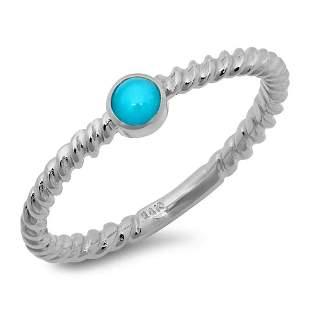0.32ct Turquoise 14 K White Gold Ring