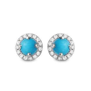 1.08ct Turquoise 14 K White Gold Earrings