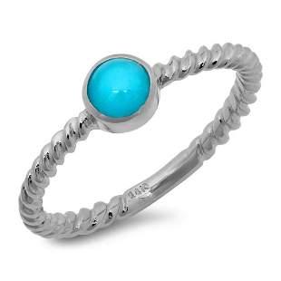 0.36ct Turquoise 14 K White Gold Ring
