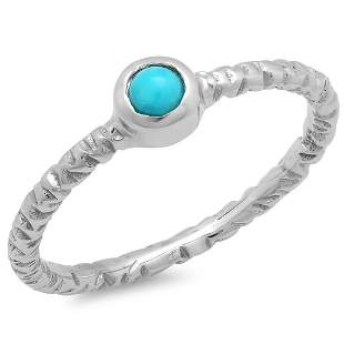 0.16ct Turquoise 14 K White Gold Ring
