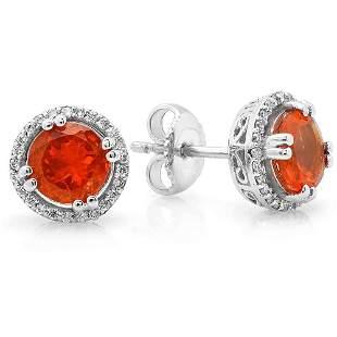 1.22ct Fire opal 14 K White Gold Earrings