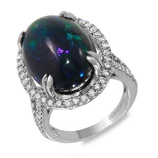 11.45ct Opal 14 K White Gold Ring