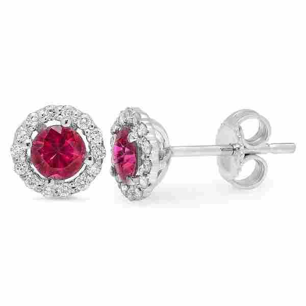 0.9ct Ruby 14 K White Gold Earrings