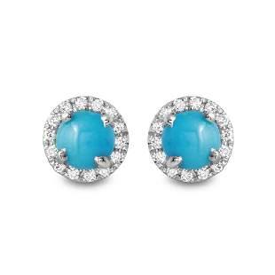 0.87ct Turquoise 14 K White Gold Earrings