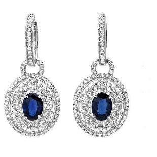 1.89ct Blue Sapphire 14 K White Gold Earrings