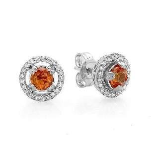 0.71ct Sapphire 14 K White Gold Earrings